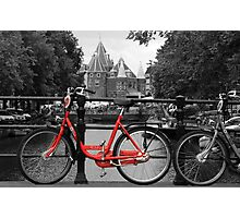 Red Bicycle By The Canal  Photographic Print