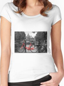 Red Bicycle By The Canal  Women's Fitted Scoop T-Shirt