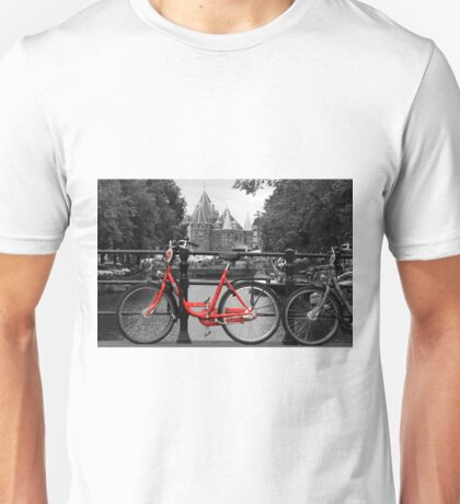 Red Bicycle By The Canal  Unisex T-Shirt
