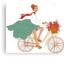 Girl with bike Canvas Print
