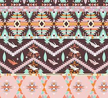 Aztec geometric seamless  colorful pattern by Olena Syerozhym