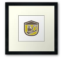 Mechanical Digger Excavator Shield Retro Framed Print