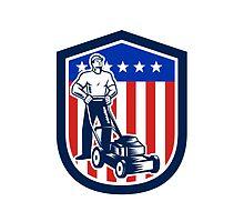 Gardener Mowing Lawn Mower Flag Retro by patrimonio