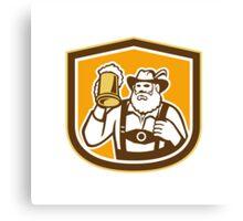 Bavarian Beer Drinker Mug Shield Retro Canvas Print