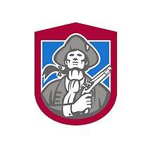 American Patriot With Flintlock Shield Retro by patrimonio