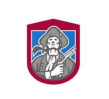 American Patriot With Flintlock Shield Retro Photographic Print