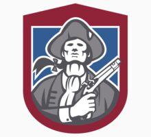 American Patriot With Flintlock Shield Retro T-Shirt