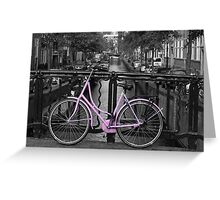Pink Bicycle By The Canal Greeting Card