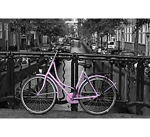 Pink Bicycle By The Canal Photographic Print