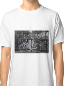 Pink Bicycle By The Canal Classic T-Shirt