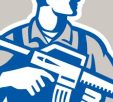 Soldier Military Serviceman Rifle Side Crest Retro Sticker