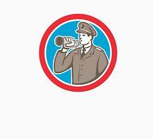 Soldier Blowing Bugle Circle Retro Unisex T-Shirt