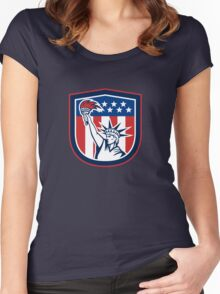 Statue of Liberty Holding Flaming Torch Shield Women's Fitted Scoop T-Shirt
