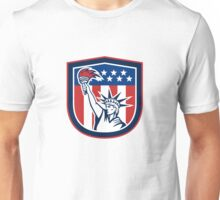 Statue of Liberty Holding Flaming Torch Shield Unisex T-Shirt