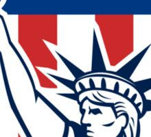 Statue of Liberty Holding Flaming Torch Shield Sticker