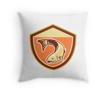 Trout Swimming Down Shield Retro Throw Pillow