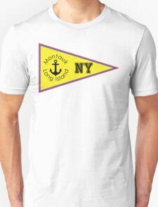 MONTAUK LONG ISLAND NEW YORK ANCHOR NAUTICAL SAILING FLAG PENNANT Unisex T-Shirt