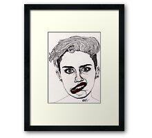 Miley with Red Lips Framed Print