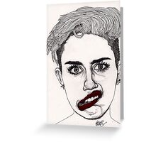 Miley with Red Lips Greeting Card
