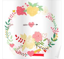 peonies wreath Poster