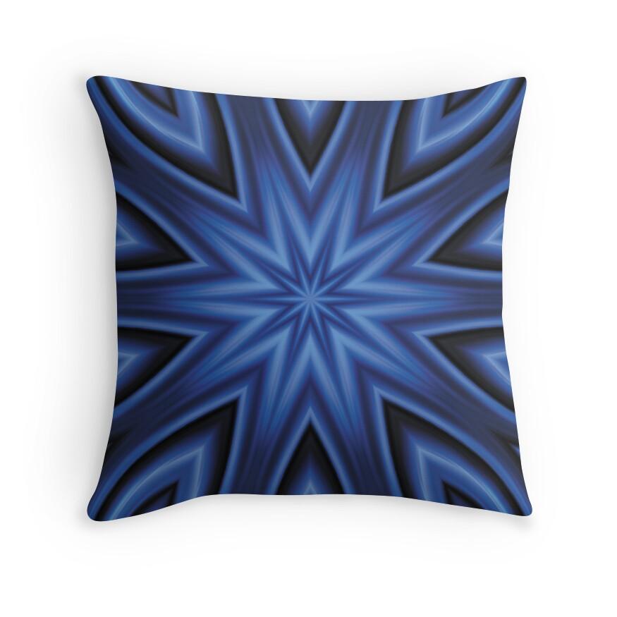 Blue Satin Throw Pillow :