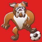 Bulldog Preparing to Kick a Soccer Ball by Zoo-co