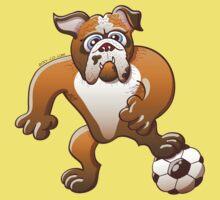 Bulldog Preparing to Kick a Soccer Ball One Piece - Short Sleeve