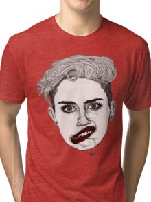 Miley with Red Lips Tri-blend T-Shirt