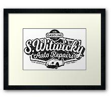 Witwicky's Auto Garage (black design) Framed Print