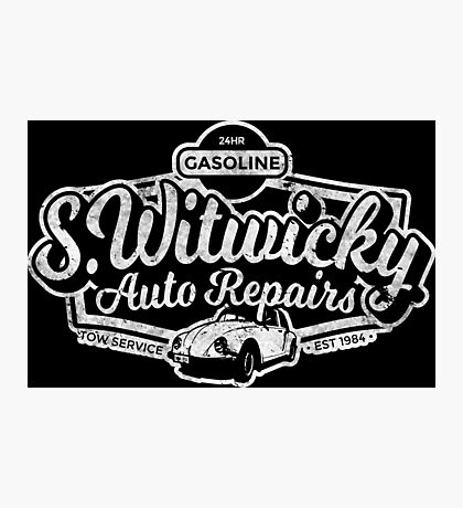Witwicky's Auto Garage (white design) Photographic Print