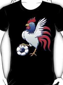 Rooster Posing and Stepping on a Soccer Ball T-Shirt