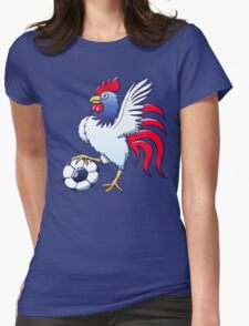 Rooster Posing and Stepping on a Soccer Ball Womens Fitted T-Shirt