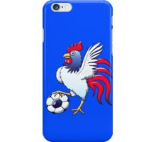 Rooster Posing and Stepping on a Soccer Ball iPhone Case/Skin