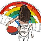 little girl on the beach with a beach ball and rainbow by StudioRenate