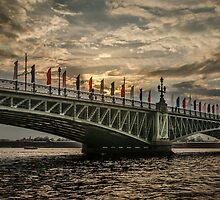 Sunset over Trinity Bridge, Saint Petersburg by LudaNayvelt