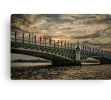 Sunset over Trinity Bridge, Saint Petersburg Canvas Print