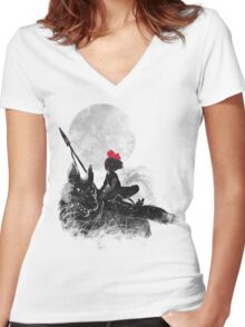 princess monokiki Women's Fitted V-Neck T-Shirt