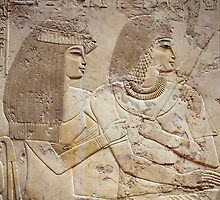 Egypt, Luxor, Sheikh 'Abd el-Qurna, Tomb of Ramos, Governor of City and Vizier, detail of relief decorations of hypostyle hall, Ramos and his wife by Bridgeman Art Library