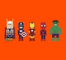 8-Bit Super Heroes! Kids Tee
