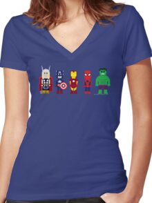 8-Bit Super Heroes! Women's Fitted V-Neck T-Shirt