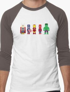 8-Bit Super Heroes! Men's Baseball ¾ T-Shirt