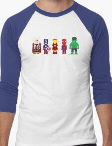 8-Bit Super Heroes! Men's Baseball ¾ T-Shirt