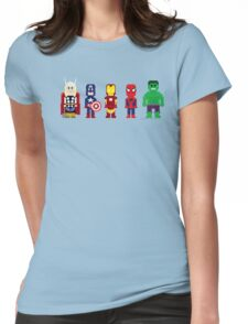 8-Bit Super Heroes! Womens Fitted T-Shirt