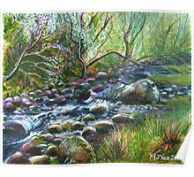 Acrylic painting, Welsh Stream nature art Poster