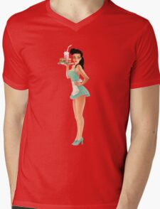 Retro Pinup Waitress Girl Mens V-Neck T-Shirt