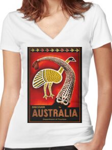 """AUSTRALIA"" Vintage Art Travel Advertising Print Women's Fitted V-Neck T-Shirt"