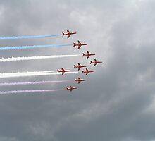 Red Arrows In Flight, Waddington Air Show 2012 by Jackward