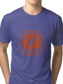 Pterosaur Fancier Tee (Orange on White) Tri-blend T-Shirt