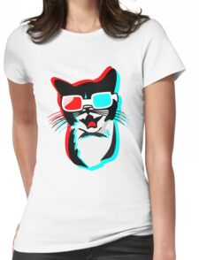 3D Cat Womens Fitted T-Shirt