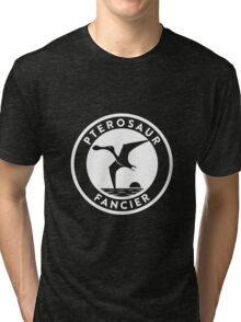 Pterosaur Fancier Tee (White on Dark) Tri-blend T-Shirt